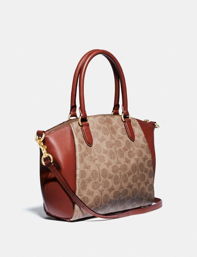 Coach Elise Satchel in Signature Canvas B4/Tan Rust New Women's New Arrivals Alternate View 1