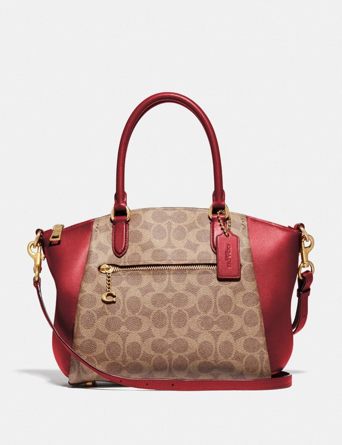 Coach Elise Satchel in Signature Canvas Brass/Tan Red Apple Women Collection Signature