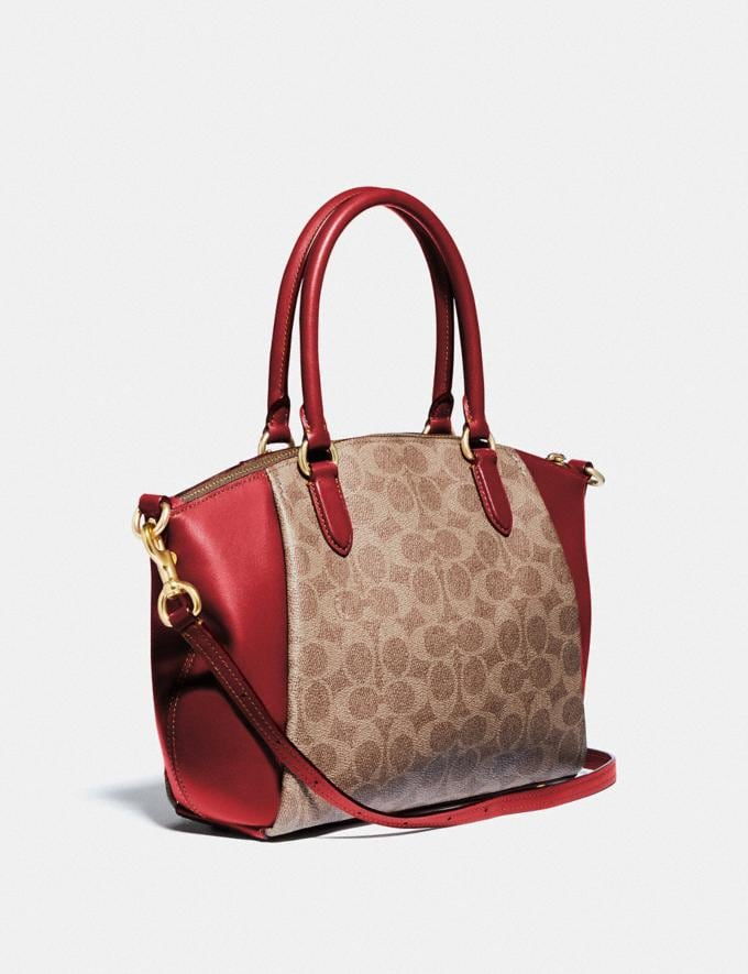 Coach Elise Satchel in Signature Canvas Brass/Tan Red Apple Women Collection Signature Alternate View 1