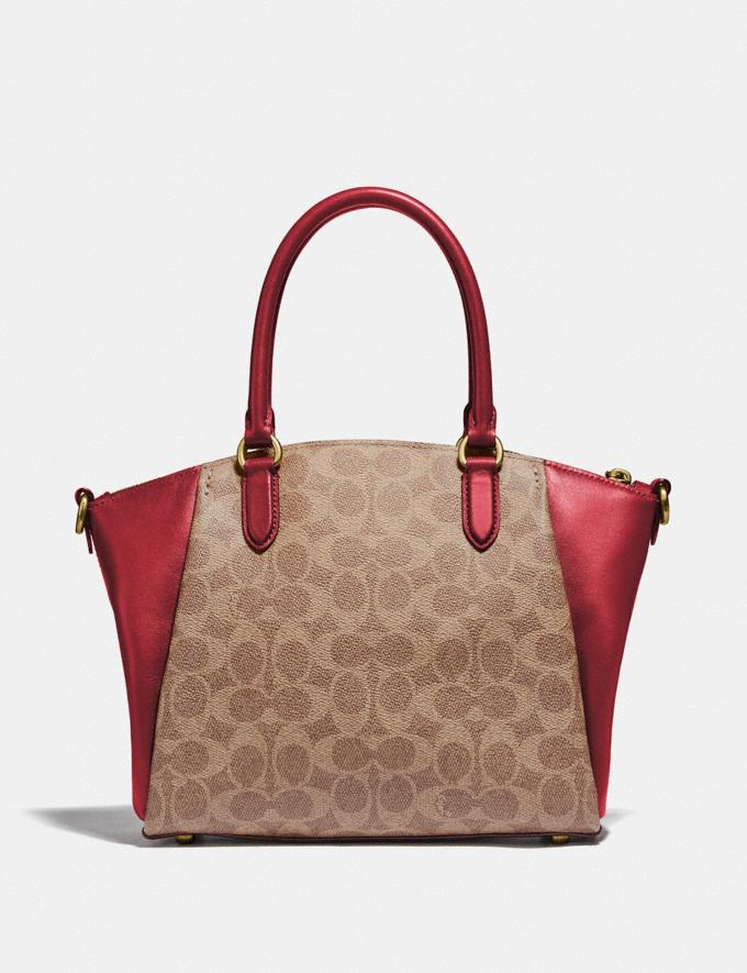 Coach Elise Satchel in Signature Canvas Brass/Tan Red Apple Women Collection Signature Alternate View 2