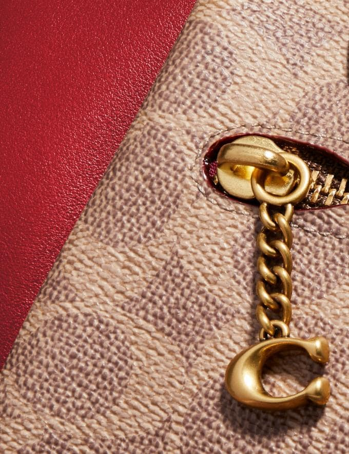 Coach Elise Satchel in Signature Canvas Brass/Tan Red Apple Women Collection Signature Alternate View 5