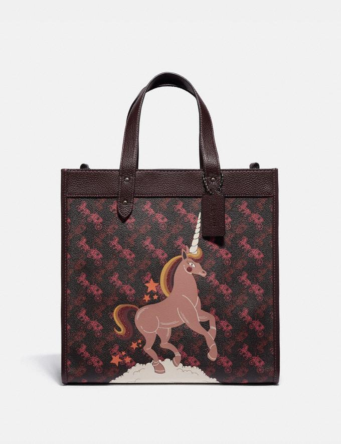 Coach Field Tote With Horse and Carriage Print and Unicorn Pewter/Black Oxblood VIP SALE Women's Sale Bags