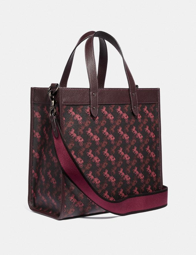 Coach Field Tote With Horse and Carriage Print and Unicorn Pewter/Black Oxblood VIP SALE Women's Sale Bags Alternate View 1