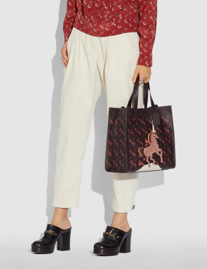 Coach Field Tote With Horse and Carriage Print and Unicorn Pewter/Black Oxblood VIP SALE Women's Sale Bags Alternate View 3