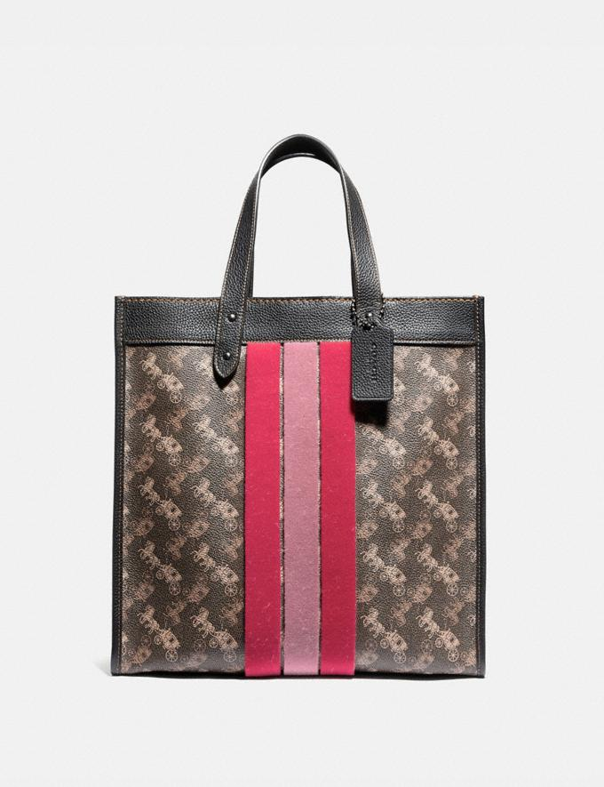 Coach Field Tote With Horse and Carriage Print and Varsity Stripe Pewter/Brown Black Women Bags Totes