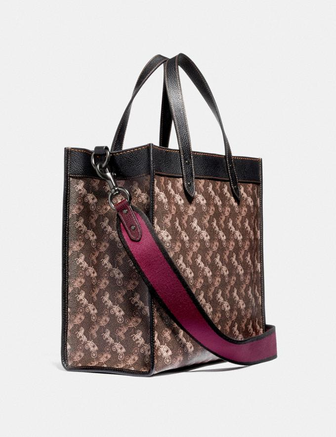 Coach Field Tote With Horse and Carriage Print and Varsity Stripe Pewter/Brown Black Women Bags Totes Alternate View 1