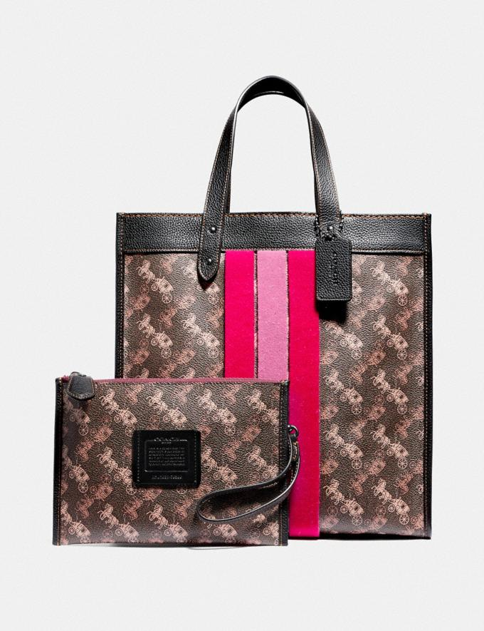 Coach Field Tote With Horse and Carriage Print and Varsity Stripe Pewter/Brown Black Women Bags Totes Alternate View 4