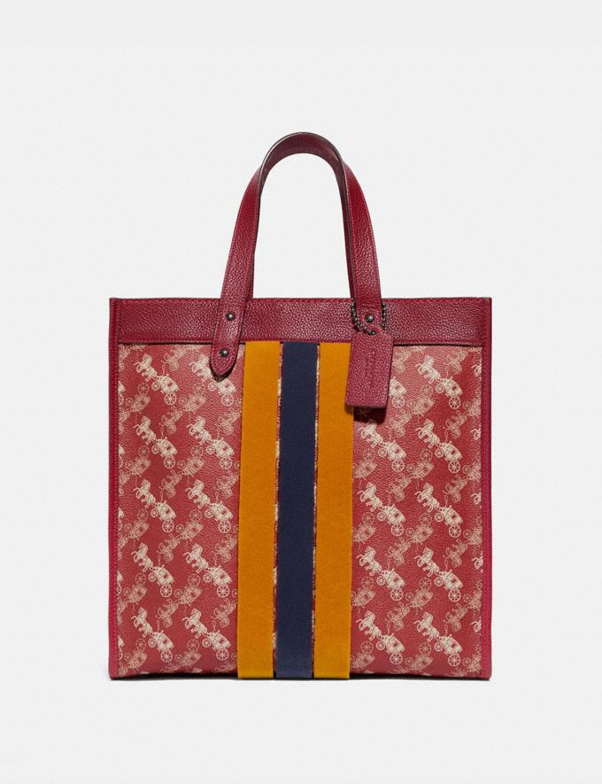 Coach Field Tote With Horse and Carriage Print and Varsity Stripe Pewter/Deep Red New Women's New Arrivals
