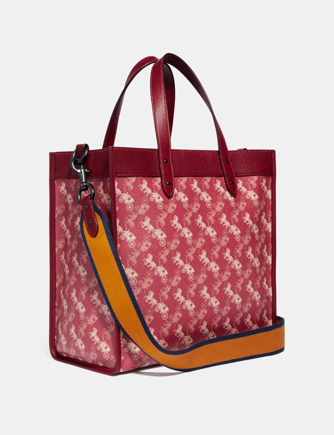 Coach Field Tote With Horse and Carriage Print and Varsity Stripe Pewter/Deep Red New Women's New Arrivals Alternate View 1