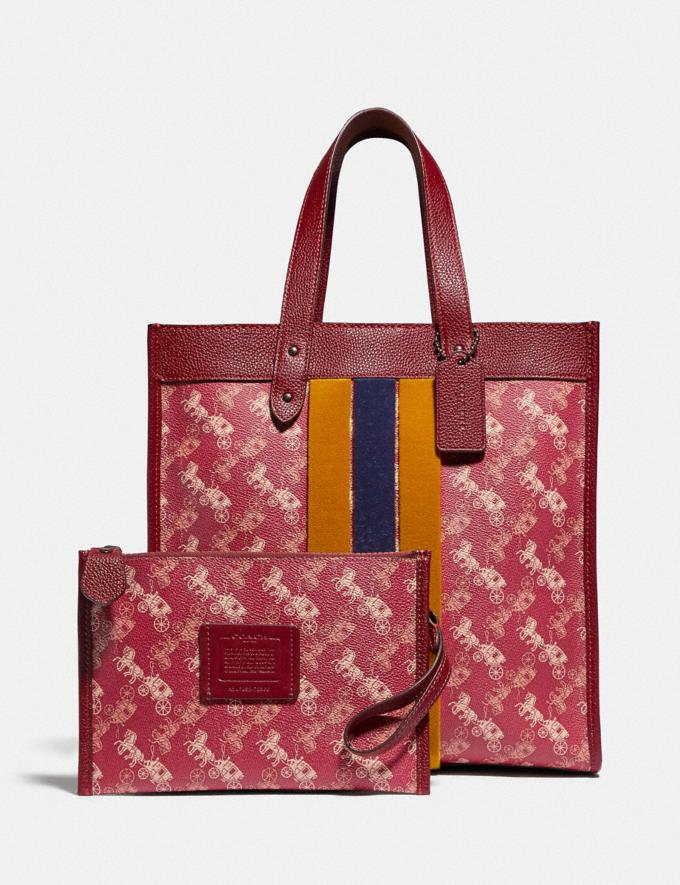 Coach Field Tote With Horse and Carriage Print and Varsity Stripe Pewter/Deep Red New Women's New Arrivals Alternate View 4