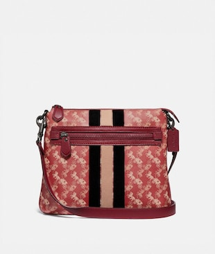 OLIVE CROSSBODY WITH HORSE AND CARRIAGE PRINT AND VARSITY STRIPE