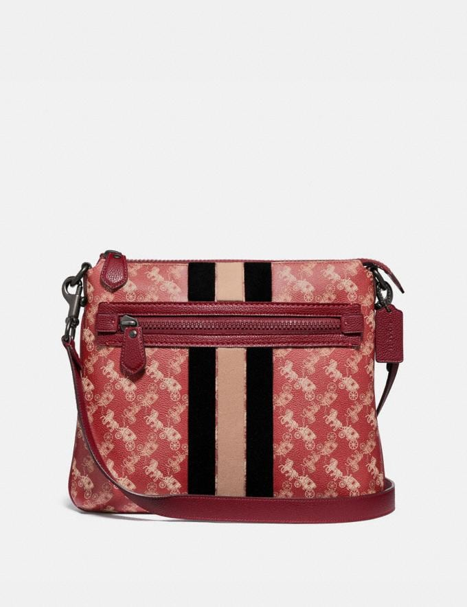 Coach Olive Crossbody With Horse and Carriage Print and Varsity Stripe Pewter/Red Deep Red Women Handbags Crossbody Bags