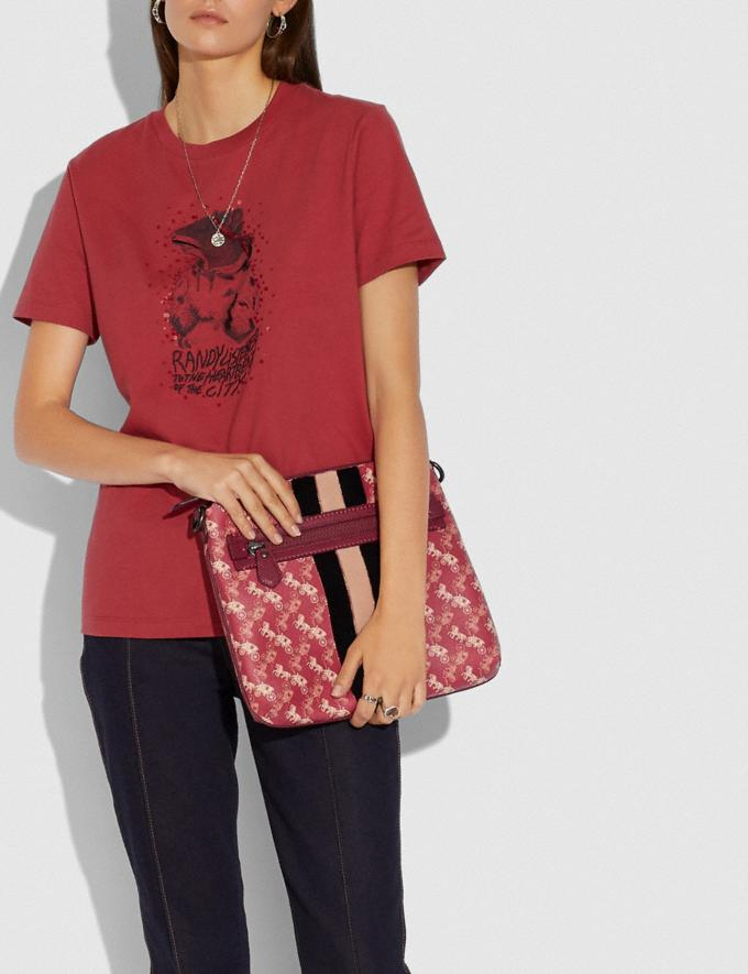 Coach Olive Crossbody With Horse and Carriage Print and Varsity Stripe Pewter/Red Deep Red SALE Women's Sale Bags Alternate View 3