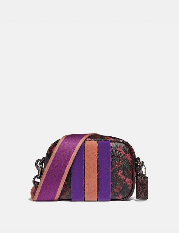 Coach Camera Bag 16 With Horse and Carriage Print and Varsity Stripe Pewter/Black Oxblood