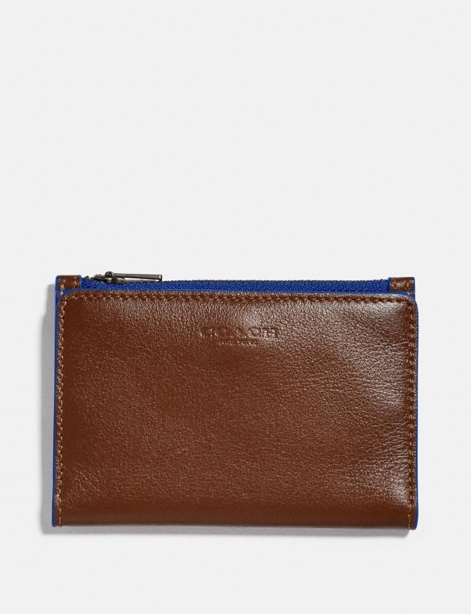 Coach Bifold Zip Card Case Saddle/Sport Blue New Men's New Arrivals Wallets