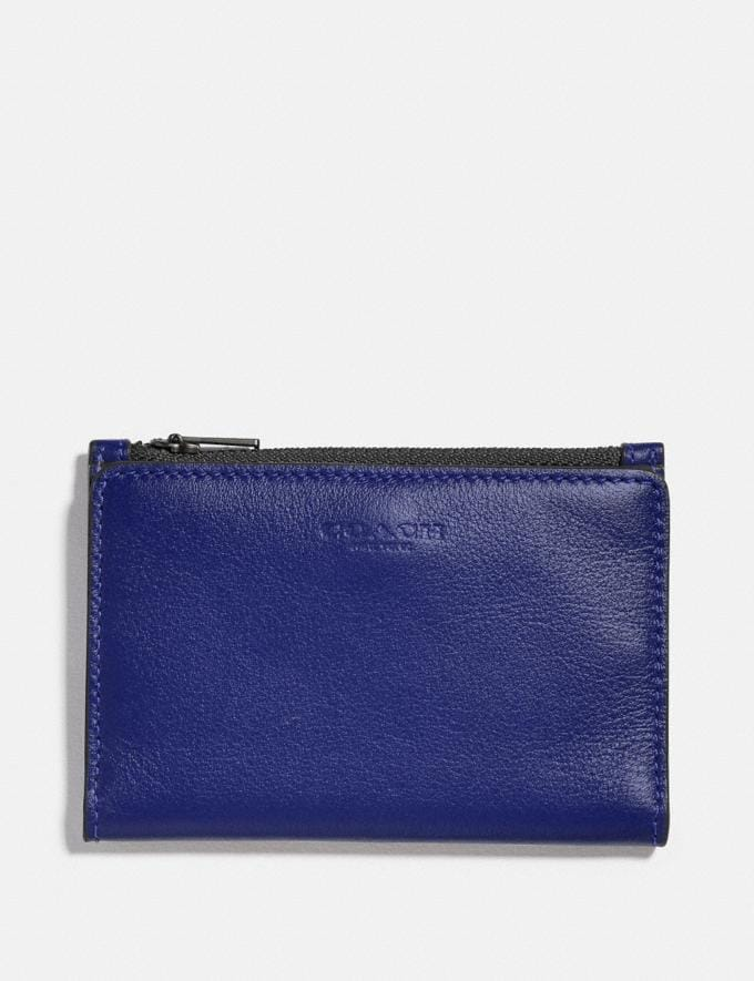 Coach Bifold Zip Card Case Sport Blue/Silver Men Wallets Billfolds