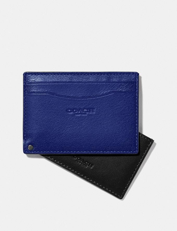 Coach Swivel Card Case Sport Blue/Silver New Men's New Arrivals Wallets Alternate View 1