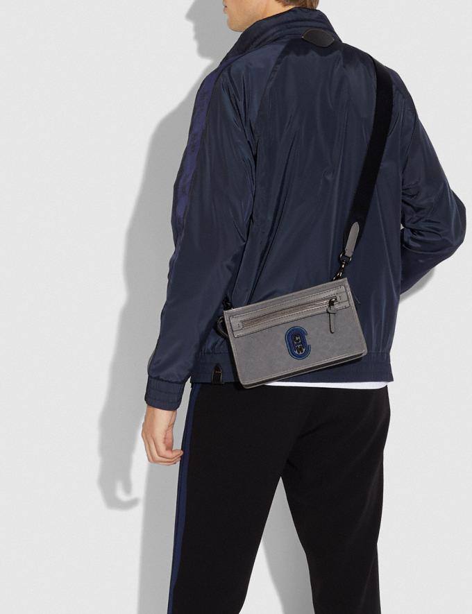 Coach Rivington Convertible Pouch in Signature Jacquard With Coach Patch Heather Grey/Blue Ombre Men Edits Signature Accessories Alternate View 2