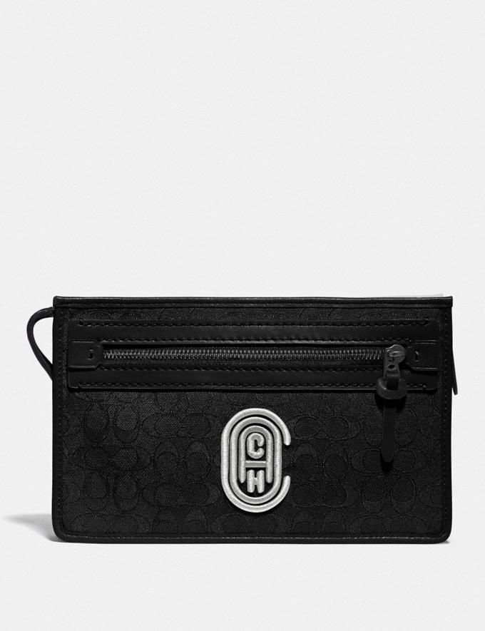 Coach Rivington Convertible Pouch in Signature Jacquard With Coach Patch Black/Chalk Gifts For Him Bestsellers