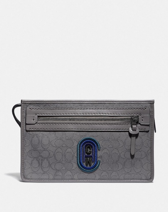 RIVINGTON CONVERTIBLE POUCH IN SIGNATURE JACQUARD WITH COACH PATCH