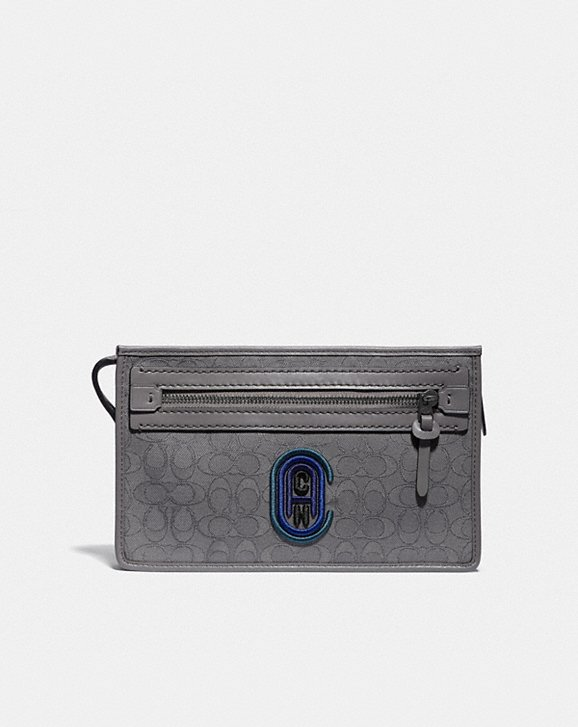 Coach RIVINGTON CONVERTIBLE POUCH IN SIGNATURE JACQUARD WITH COACH PATCH