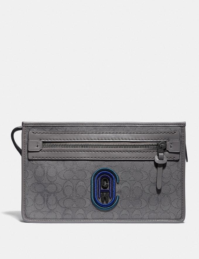 Coach Rivington Convertible Pouch in Signature Jacquard With Coach Patch Heather Grey/Blue Ombre Men Edits Travel