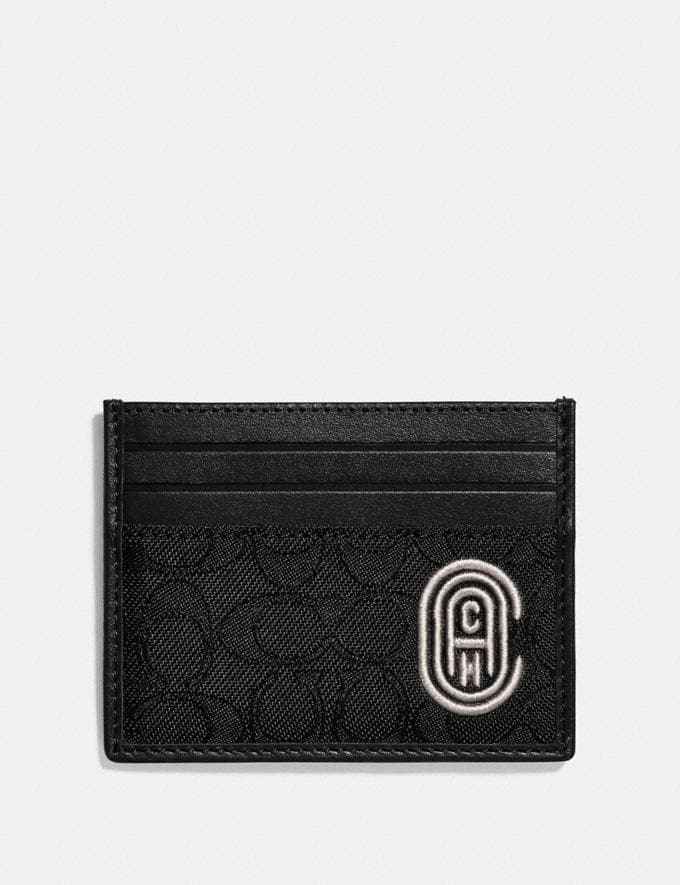 Coach Card Case in Signature Jacquard With Coach Patch Black/Chalk New Men's New Arrivals Wallets