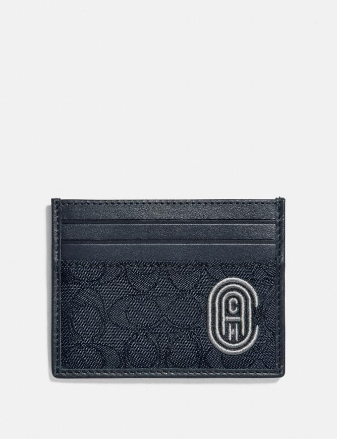 Coach Card Case in Signature Jacquard With Coach Patch Heather Grey/Blue Ombre New Men's New Arrivals Wallets
