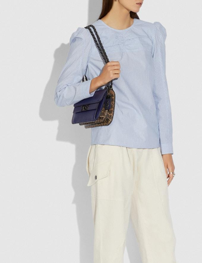 Coach Troupe Crossbody in Colorblock With Snakeskin Detail V5/Cadet Multi Women Bags Crossbody Bags Alternate View 3