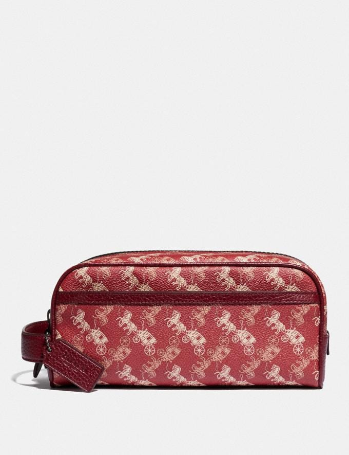 Coach Travel Kit With Horse and Carriage Print Red/White Men Accessories Travel