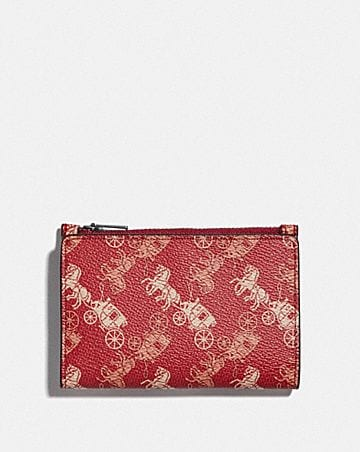 bifold zip card case with horse and carriage print