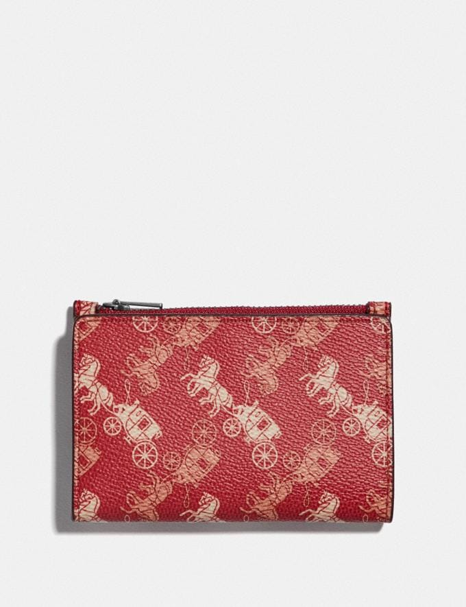 Coach Bifold Zip Card Case With Horse and Carriage Print Red/White