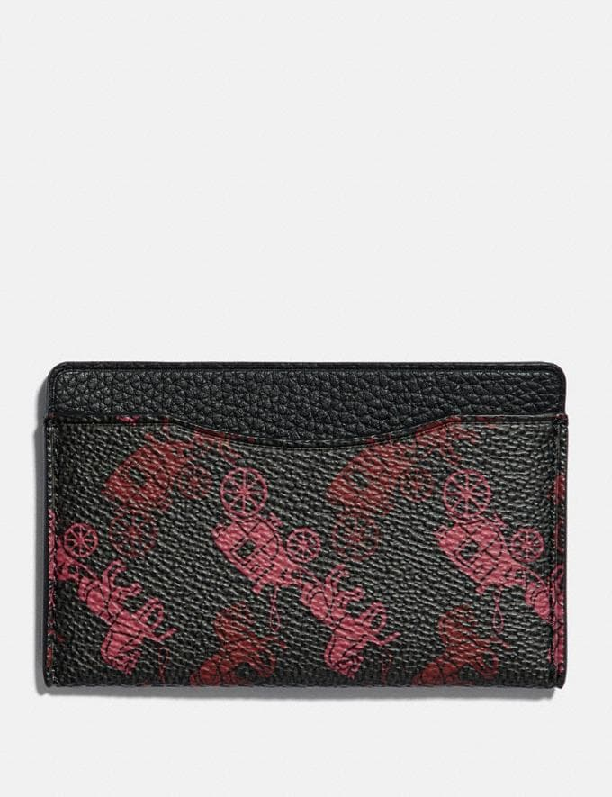 Coach Small Card Case With Horse and Carriage Print Black/Red VIP SALE Men's Sale Wallets