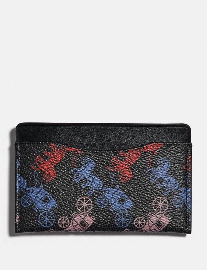 Coach Small Card Case With Horse and Carriage Print Black Multi VIP SALE Men's Sale Wallets
