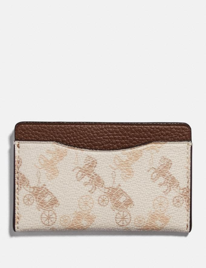 Coach Small Card Case With Horse and Carriage Print Chalk Women Wallets & Wristlets