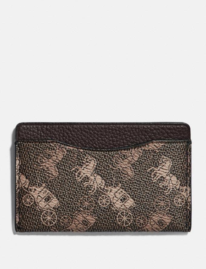Coach Small Card Case With Horse and Carriage Print Brown/Tan New Men's New Arrivals