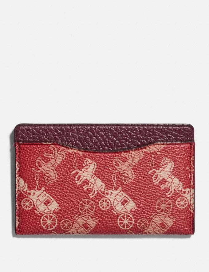 Coach Small Card Case With Horse and Carriage Print Red/White Men Wallets Card Cases
