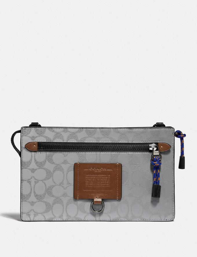 Coach Rivington Convertible Pouch in Reflective Signature Canvas Silver/Saddle/Black Cyber Monday Men's Cyber Monday Sale Accessories
