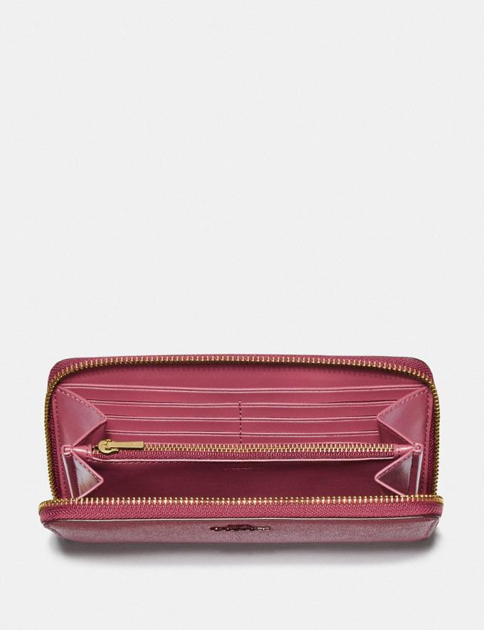 Coach Accordion Zip Wallet Brass/Dusty Pink Women Small Leather Goods Large Wallets Alternate View 1