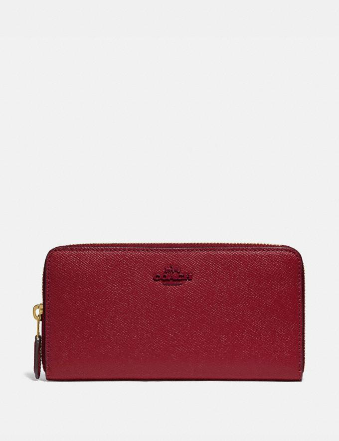 Coach Accordion Zip Wallet B4/Deep Red Women Small Leather Goods Large Wallets