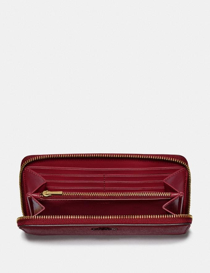 Coach Accordion Zip Wallet B4/Deep Red Women Small Leather Goods Large Wallets Alternate View 1