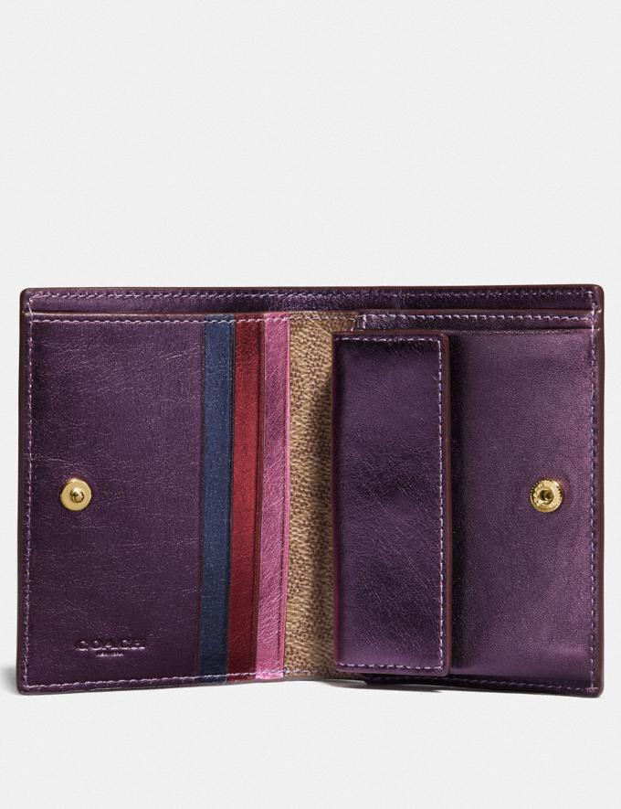 Coach Small Snap Wallet With Colorblock Signature Canvas Brass/Tan Multi Women Wallets & Wristlets Small Wallets Alternate View 1
