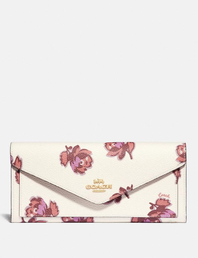 Coach Soft Wallet With Floral Print Gold/Chalk Floral Print New Women's New Arrivals Wallets & Wristlets