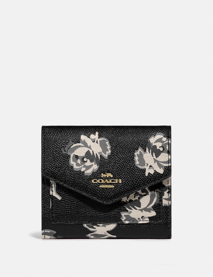 Coach Small Wallet With Floral Print Gold/Black Floral Print New Women's New Arrivals Wallets & Wristlets