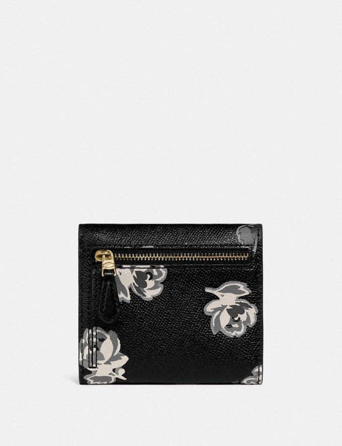 Coach Small Wallet With Floral Print Gold/Black Floral Print New Women's New Arrivals Wallets & Wristlets Alternate View 1