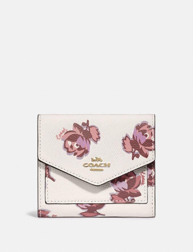 Coach Small Wallet With Floral Print Gold/Chalk Floral Print Women Wallets & Wristlets Small Wallets