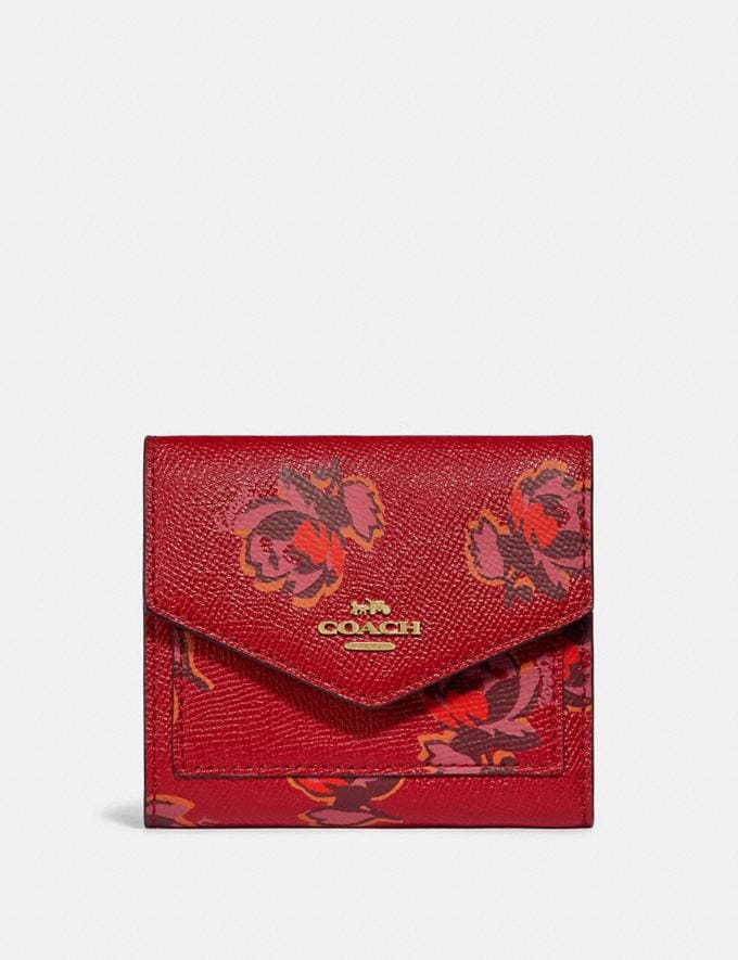 Coach Small Wallet With Floral Print Gold/Red Apple Floral Print Gifts For Her Under $100