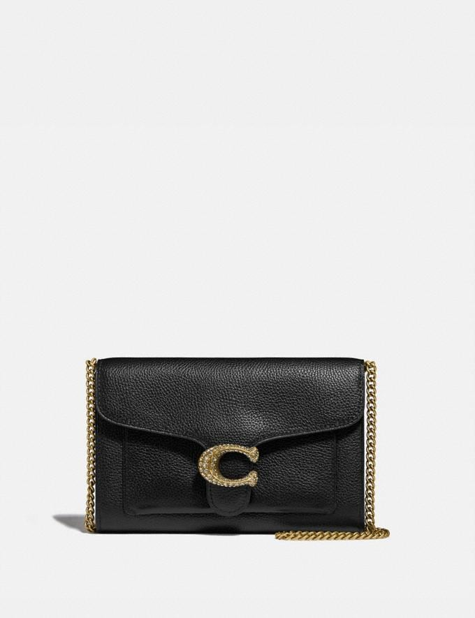 Coach Tabby Chain Clutch Brass/Black Women Wallets & Wristlets Crossbody Wallets