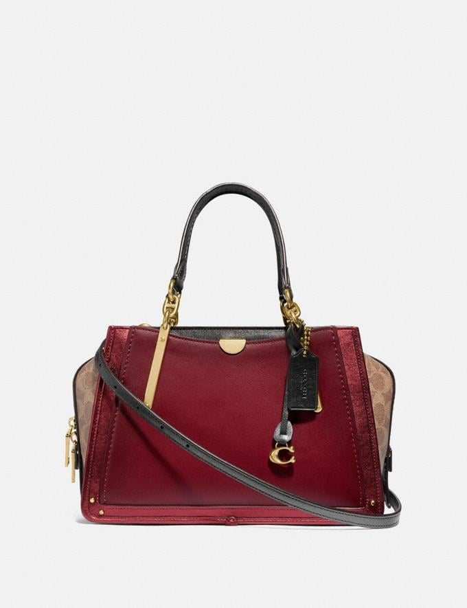 Coach Dreamer With Signature Canvas Blocking Brass/Tan Deep Red New Featured 30% off (and more)