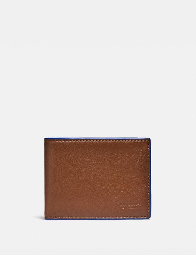 Coach Slim Billfold Wallet Saddle/Sport Blue Gifts For Him Under $300